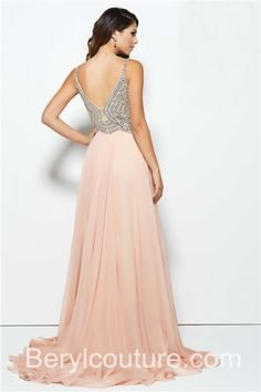 A-Line-Sweetheart-High-Slit-Long-Blush-Pink-Chiffon-Beaded-Prom-Dress-With-Straps-1.jpg (700×1050)
