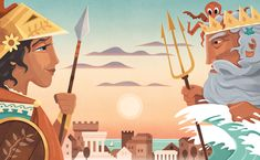 Greek Myth; Athena and Poseidon, by Martin Wickstrom Commercial Art, Greek, Princess Zelda, Illustration, Fictional Characters, Greek Language, Illustrations, Fantasy Characters