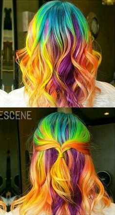 Orange yellow purple  rainbow dyed hair color idea @hair_goals101 @bescene