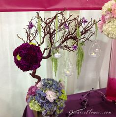 Pink, Blue, Purple, and Green Manzanita Tree with Hanging Bulb Candles