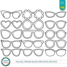 Sunglasses Digital Stamp Pack - Black and White Clip art / Eyeglasses Clip art / Reading Glasses Clip art / Sunglasses / Fashion Clipart Drawing Sunglasses, Boli 3d, Royal Icing Templates, Halloween Cookies Decorated, Accessoires Photo, Fashion Clipart, Cartoon Clip, 3d Pen, Clipart Black And White