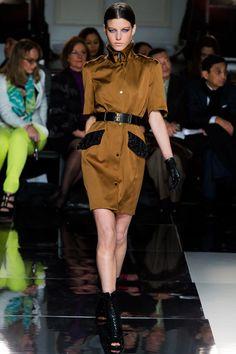Jason Wu FW13 Bronze and black 3/4 sleeve belted dress #NYFW #Fashion