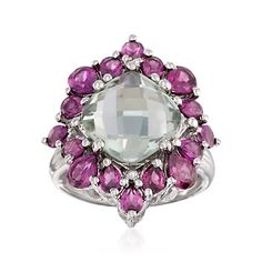Buy this at 58% OFF, the 4.30 Carat Green Amethyst and 3.80 ct. t.w. Rhodolite Garnet Ring in Sterling Silver #ring #amethyst #garnet #OnlineSale #sale