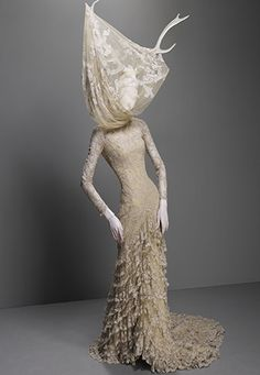 Dress, Widows of Culloden, autumn/winter 2006–7 | Alexander McQueen: Savage Beauty | The Metropolitan Museum of Art, New York - Cream silk tulle and lace with resin antlers