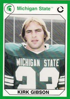 Ccurrent manager and 1988 World Series hero Kirk Gibson was an All-Amerian WR at in Actually 1984 World Series hero. Colleges In Michigan, Michigan State Football, Detroit Tigers Baseball, Michigan State University, Msu Football, 1988 World Series, Kirk Gibson, College Football Players, Msu Spartans