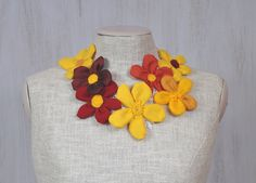 Necklace with textile & felt flowers Fabric flowers For her OOAK Unique Romantic Optimistic Sunny Spring Yellow Orange Red - pinned by pin4etsy.com