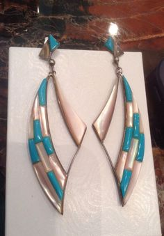 """FAB 3.5""""lg ZUNI Sterling Sleeping Beauty Turquoise/Mother Of Pearl MOP Earrings #NATIVEAMERICANINDIANJEWELRY"""