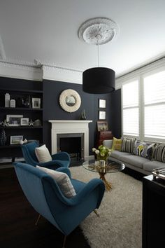 80 Ideas For Contemporary Living Room Designs Living Room Sofa Design. low key love the paint on the wall. as for those 2 blue whatever they are called, not so sure about them. the design and colour. Dark Living Rooms, New Living Room, Home And Living, Living Room Decor, Dark Rooms, Modern Living, Living Room Ideas Dark Blue, Navy And White Living Room, Farrow And Ball Living Room