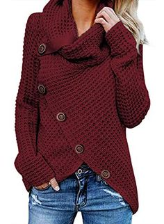 2b4ab7511b3 Asvivid Women s Chunky Turtle Cowl Neck Asymmetric Hem Wrap Sweater Coat  with Button Details at Amazon Women s Clothing store