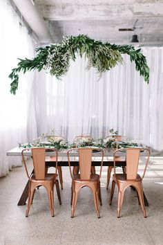 Copper + green industrial modern wedding inspiration - loving the copper chairs with this gorgeous tablescape Chic Wedding, Wedding Trends, Wedding Table, Floral Wedding, Spring Wedding, Wedding Ideas, Garden Wedding, Wedding Greenery, Wedding Designs