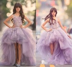 Purple High Low Flower Girls Dresses For Wedding Sleeveless Lace Applique Kids Formal Wear Tiered Ruffles Princess Girl's Pageant Dress 2016 Flower Girl Dresses Cheap Girls Pageant Dresses Online with 104.0/Piece on Sweet-life's Store | DHgate.com