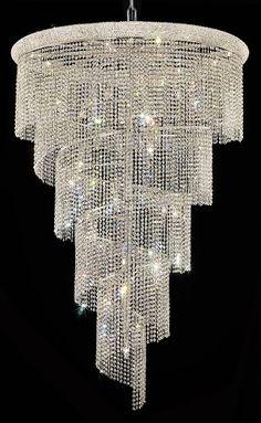 Spiral Design 29-Light 72'' Chrome or Gold Chandelier with European or Swarovski Crystals SKU# 10145