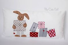 Stickmuster - Hase mit Geschenken 6er-Set 13x18 Doodle - ein Designerstück von Stickherz bei DaWanda