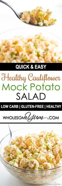 Cauliflower Potato Salad Recipe (Low Carb Paleo Potato Salad) - This easy cauliflower mock potato salad recipe is low carb, keto, paleo, gluten-free, whole 30, and healthy. It's a crowd pleaser for everyone, too!