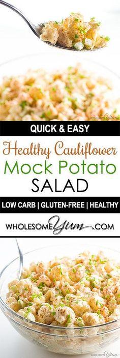 Cauliflower Potato Salad Recipe (Low Carb Paleo Potato Salad) - This quick & easy cauliflower mock potato salad recipe is low carb, keto, paleo, gluten-free, whole and healthy. It's a crowd please (Ketogenic Recipes Cauliflower) Salad Recipes Low Carb, Paleo Recipes, Real Food Recipes, Cooking Recipes, Ketogenic Recipes, Cauliflower Potatoes, Easy Cauliflower Recipes, Cauliflower Salad, Bon Appetit