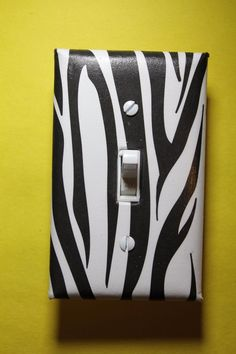 Zebra print Light Switch Cover boy girl child teen room decor animal black white