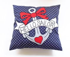 Navy Anchor Pillow, Spotty Throw Pillow, Tattoo Anchor Cushion, Rockabilly Decor, Novelty Pillow, Retro Home Decor, Appliqué Cushion