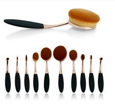 10pcs Beauty Toothbrush Shaped Foundation Power Makeup Oval Cream Puff Brushes