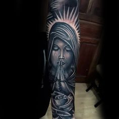 Rosary Beads Praying Lady Religious Tattoo Male Forearms