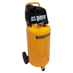 The Bostitch BTFP02028 1.8 Horsepower, 26 Gallon, 150 PSI Oil-Free Air Compressor features 4.1 SCFM delivered at 90 PSI pump, a 26 gallon tank and 150 MAX PSI which enables all household and most professional applications. It has a long life oil free pump for ease of operation and no oil maintenance and a BOSTITCH high efficiency motor for easy start up in cold weather or extension cord application [12GA 50 ft. (15.2 m) or less].