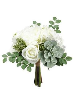 Wedding bouquets with succulents are the popular trend this season, explore Afloral.com to find them now! This hassle-free silk white peony and hydrangea bouquet features green artificial succulents to create simple yet beautiful DIY bridal bouquets or centerpieces.
