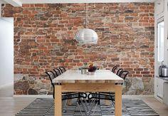 Backsteinwand selber machen  Wanddeko selber machen: gefälschte Backsteinwand als rustikale ...