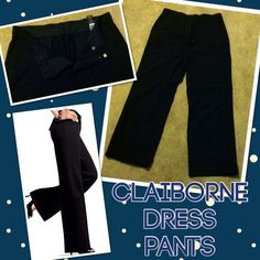 Claiborne Dress Pants Black Claiborne Dress Pants, never worn, have been in storage, great condition, has belt loops, 3 pockets, 49% poly, 49% Rayon, 2 spandex, All offers will be taken into consideration, tends to run small Liz Claiborne Pants
