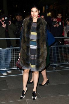Caroline Issa attended David Bailey's exhibition opening in London. Caroline wears Flamingo fox coat from Pre Fall 2014 Zenith Collection #fur #hockley #london #exhibition #red #carpet #event #style #fashion