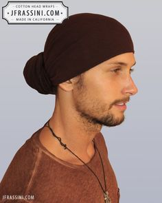 Buy fashionable Brown Bandanas. Perfect for long or short hair, no hair, dreadlocks, African wraps, hair coverings, motorcycle helmets, and chemo/cancer treatment. (818) 749-5066 For sale at http://jfrassini.com/brown-head-wrap/