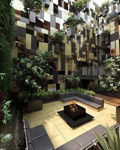 Garden courtyard of Apartments: modular vertical gardens | Pascal Arquitectos