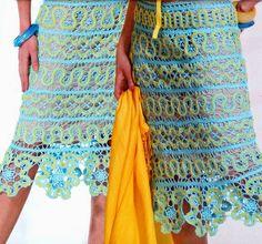 TRICO y CROCHET-madona-mía: Encaje de Brujas Modelos con patrón Tie Dye Skirt, Dress Skirt, Lace Skirt, Bruges, Madona, Crochet Skirts, Irish Lace, Cover Up, Crafts