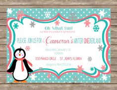 Winter ONEderland Penguin Snowflake First Birthday Party Invitation