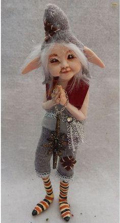 Ollie Woodland Elf w/ Star Ornament OOAK Fairy Fairies Sculpture Art Doll  #handmade