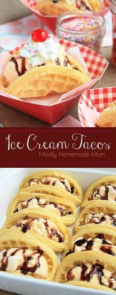 Ice Cream Tacos - Waffles filled with ice cream and toppings make a fun twist on dessert tacos! This one is a kid favorite!