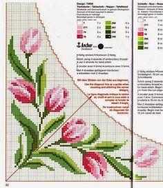10 όμορφα σχέδια για τραπεζομάντηλα , καρέ και σεμέν κεντημένα σταυροβελονιά   10 lovely cross stitch patterns of tablecloths and table r...