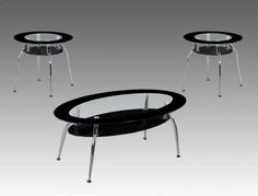 """Mila  3 Piece Table Set  Glass and Chrome  With Black Glass Shelf   $199.00   Coffee Table  47.3"""" x 25.4"""" x  17.3""""H  End Tables  23.3"""" Dia. x 21.3""""H     C/M 3270"""