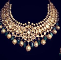 Polki necklace by Zeba's Jewels in 22 kt gold avialable on order contact me at zebamasoodk@gmail.com