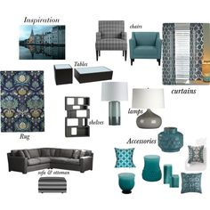 "teal, grey, gold living room""ealfaro814 on polyvore featuring"