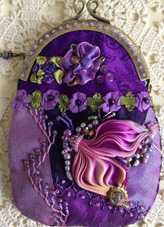 Latest beauty, finished ~By Pat Winter by maureenI ❤ crazy quilting, beading & ribbon embroidery . Latest beauty, finished ~By Pat Winter by maureen Silk Ribbon Embroidery, Hand Embroidery Patterns, Embroidery Thread, Embroidery Supplies, Quilt Patterns, Crazy Patchwork, Crazy Quilting, Unique Purses, Ribbon Art