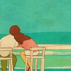 Love is something that emits light from small things and comes in ways that we can easily overlook in our daily lives. I work to find hidden meanings of love. Beach Illustration, Couple Illustration, I Love You Honey, Love Is Sweet, Puuung Love Is, Cute Love Stories, Couple Drawings, Husband Love, Couple Art