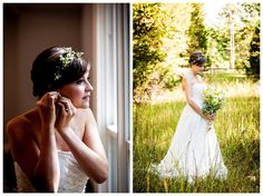 A David's Bridal bride in a strapless lace wedding gown at her charming outdoor wedding.