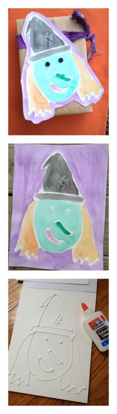 Elmers Glue Creates Witchy Fun Outlines For Watercoloring!