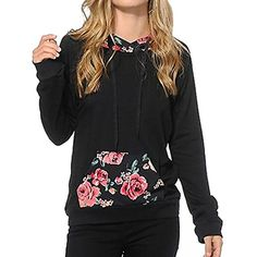 74d849a81ab Womens Casual Embroidery Kangaroo Pocket Pullover Hoodie Sweatshirt      Check this awesome product by