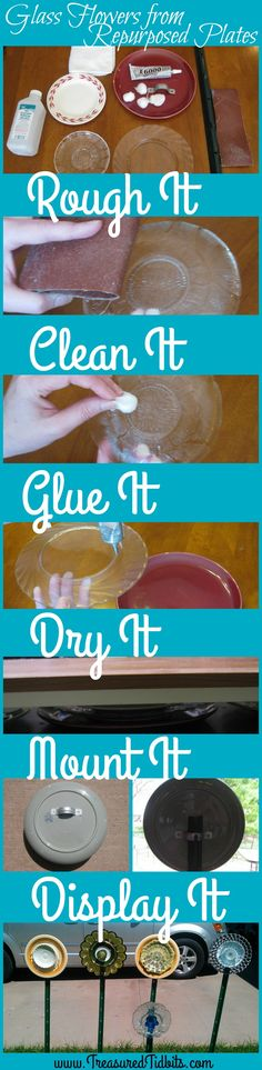 Simple tutorial on how to create beautiful outdoor yard art from glass dishes. Spring Projects, Craft Projects, Home Organization Hacks, Glass Dishes, Fall Diy, Simple House, Yard Art, Repurposed, Christmas Diy