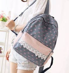 #Bow Print Canvas #Backpack