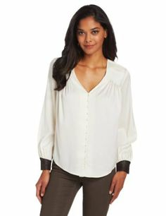CATHERINE CATHERINE MALANDRINO Women's Paige Chiffon Blouse with Faux Leather Cuff