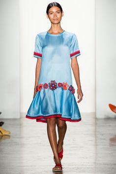 Crochet trim that you could totally recreate on a dress of your own at Ostwald Helgason Spring 2015 RTW