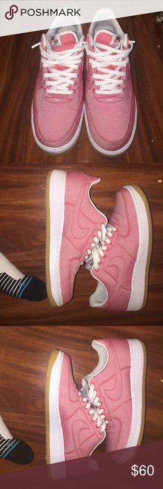 Pink AF1 (Air Force 1) Worn 3 times, comes from smoke free home size 10 in men's Nike Shoes Sneakers