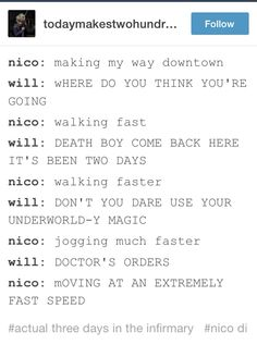 Solangelo <------ I can see him singing Thousand Miles and panicking as he runs away from Will