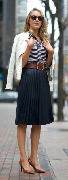 navy pleated midi skirt + striped shirt + white moto jacket